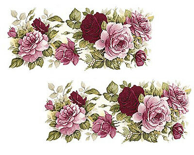 AMaZinG! VinTaGe IMaGe PinK TeA RoSe SWaGs ShaBby WaTerSLiDe DeCALs ~LaRGe~