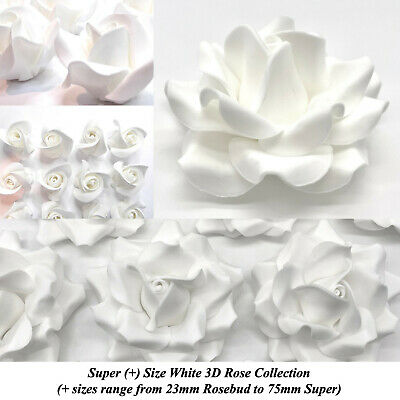 White Sugar Roses White Wedding Cake decorations flowers 5 SIZES NON WIRED