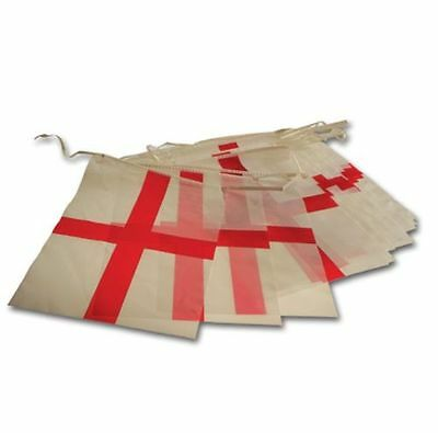 ENGLAND ST GEORGES CROSS SQUARE FLAG BUNTING 6m - READY FOR WORLD CUP FOOTBALL