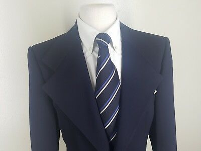 Boys True Vintage (1970's) Pierre Cardin Blue Blazer 2 Btn Wide Lapels 12 Long