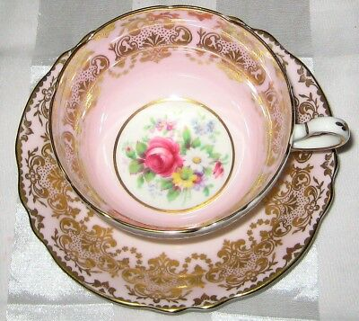 Stunning Paragon - Rose Bouquets on Pink with Golden Filigree  - Teacup & Saucer