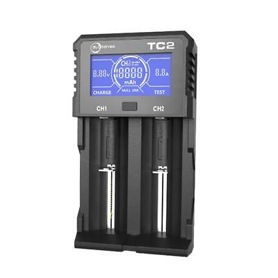 Allmaybe TC2 2Slots LCD Display Rapid Smart USB Battery Charger for Li-ion/IMR/I