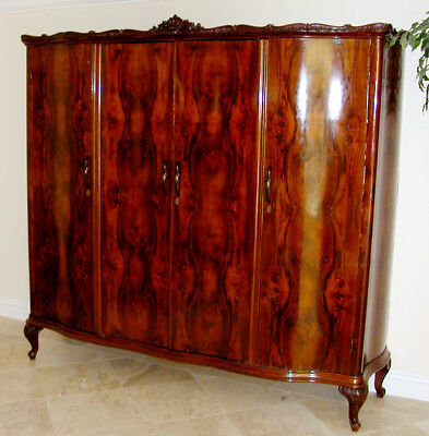 1700s-1800s Italian Bookmatched Walnut Burled, Antique Armoire Cabinet  7' RARE!