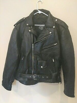 Diamond plate mens xl Buffalo Leather Biker Lined Jacket