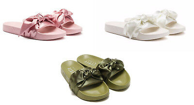best service 596a0 8e728 PUMA RIHANNA FENTY Bow Slides Olive Green Pink Silver White Slippers Sandals