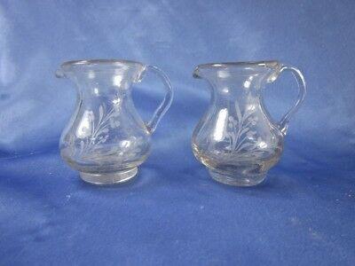 "2 ANTIQUE HAND-BLOWN ETCHED 2"" CHILD's CLEAR CREAM PITCHERS w CROSS & FLORAL"