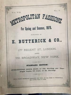 Vintage Clothing Catalog-Metropolitan Fashions Spring/Summer 1878  Vol Vll No 1