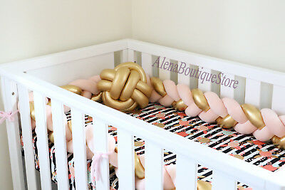 Gold Silver Braided Crib Bumpers,Nursery  Baby bedding,bumpers,Knot,Crib bedding