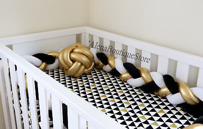Gold Silver Braided Crib Bumpers,Nursery  Baby bedding,bumpers Crib bedding