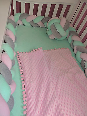 Braided Crib Bumpers+Knot Pillow Cushion/Nursery bedding/ (27 colors to choose )