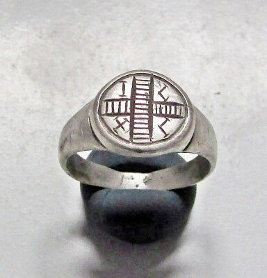 "ANCIENT BYZANTINE SILVER  RING."" Cross with the initials of Jesus """