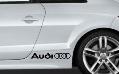 Audi stickers side decals rings one pair 2 stickers 35cm x 5cm