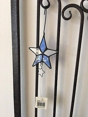 Stained Glass Blue Star Sun Catcher w/metal star cutout