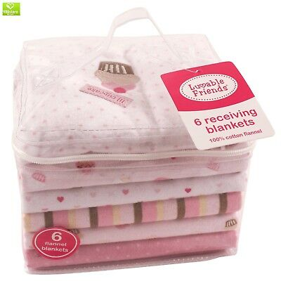6 Flannel Blankets, Newborn Baby Girl by Luvable Friends, New, FREE SHIPPING