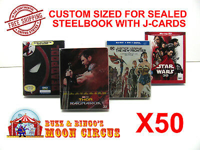 50x BLU-RAY STEELBOOK PROTECTIVE SLEEVE- BOX PROTECTORS- WITH J-CARD CUSTOM SIZE