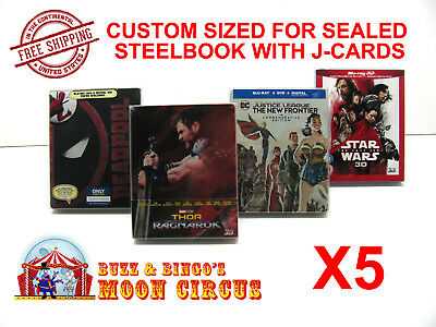 5x BLU-RAY STEELBOOK PROTECTIVE SLEEVE- BOX PROTECTORS- WITH J-CARD CUSTOM SIZE