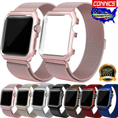 For Apple Watch Series 3 2 1!Milanese Magnetic SS Steel Wrist Band Strap 38/42mm