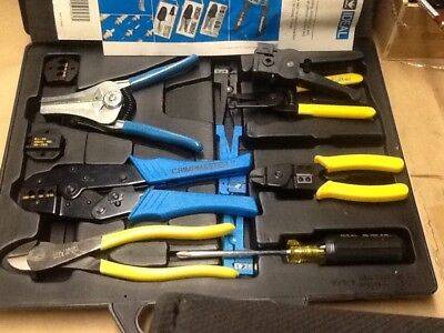 Ideal voice signal data tool kit coax & flat cable wire stripper crimper cutter