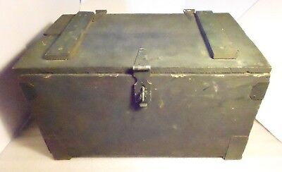 Small Antique Wooden Chest Box w Hinged Lid Painted Green Metal Hardware Rustic