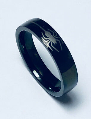 Men Women 316L Black Stainless Steel Spider 5mm Ring Band Size 6 - 12 NEW SS66