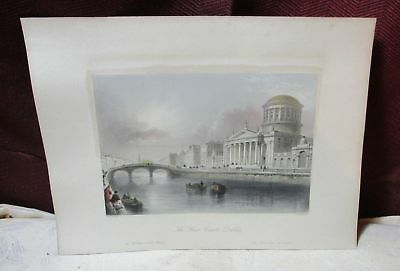 Antique Hand Colored Engraving The Four Courts Dublin Ireland 4/18