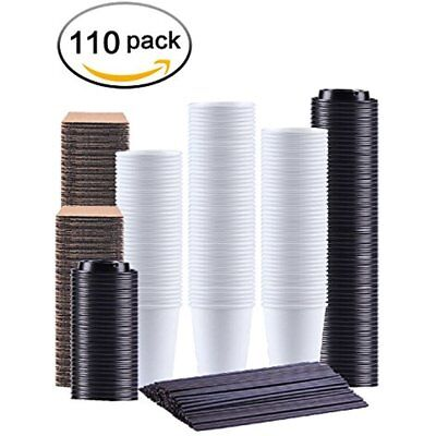 Disposable Coffee Cups 12 Oz,110 Count,With Lids Sleeves And Straws,Durable Hot