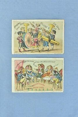 1877 Lot 2 Advertising Trade Card Sollers Shoes Philadelphia Minstrels Band 5286