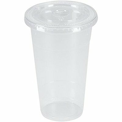 100 Sets 24 Oz. Plastic CRYSTAL CLEAR Cups With Flat Lids For Cold Drinks, Iced