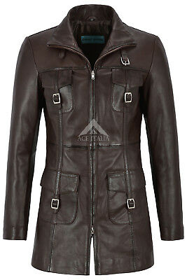 'MISTRESS' Ladies Leather Jacket Brown Gothic Style Fitted Mid Length Coat 1310