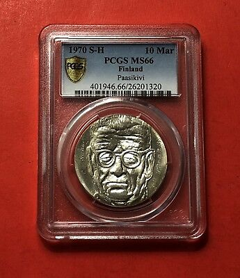 1970 S-H Unc Finland 10 Markka Silver Coin ( Paasikivi ) ,graded By Pcgs Ms66.