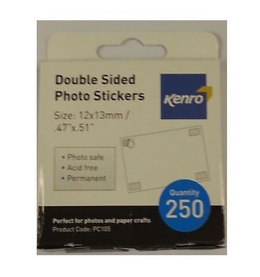 Kenro 250 Double Sided Photo Mounting Squares Stickers Acid Free Album Craft
