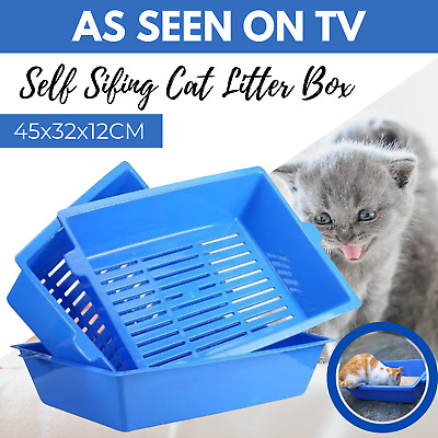 Lift and Sift Self Cleaning Cat Litter Box Tray Self Sifting Kitty Litter Trays