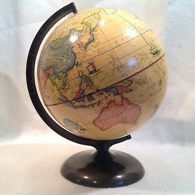 "Vintage World Globe Rand McNally Terrestial 1972 1979 Topography 12"" Metal Base"