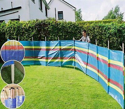 10 POLE WINDBREAK Wind Break Windbreaker Screen Sun Beach Shelter Camping  20Ft