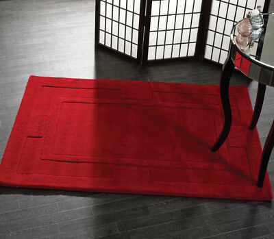 Plain RED Modern Raised Bordered Design Super Thick Dense Pile 100% Wool Rugs