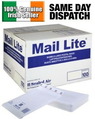 100 X A/000 Mail Lite Sealed Air Padded Envelopes Bubble Lined White