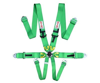 STR 6-Point Race Harness FIA 8853-2016 (2023) Safety Seat Belt IVA Safe - GREEN