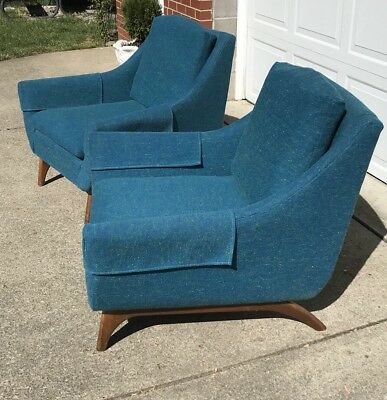 Set Of 2 Vintage Mid Century Danish Modern Lounge Accent Chairs Mad Men