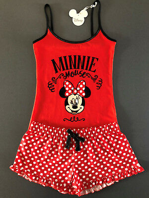 DiSNEY MiNNiE MOUSE MAUS DAMEN PYJAMA SCHLAFANZUG KURZ XS-XL SHORTY TOP + SHORTS