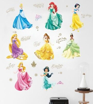 New DISNEY PRINCESS WALL DECALS Rapunzel Tiana Cinderella Stickers Decor