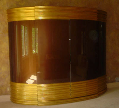 Large Gold and Chocolate Brown Armoire with Mini Refrigerator