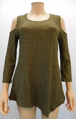 NY Collection Womens Top 3/4 Sleeve Cold Shoulder Ribbed Pullover Brown Gold XL