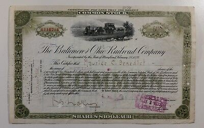 The Baltimore & Ohio Railroad Co Common Stock 1917 50 Shares Certificate A116714
