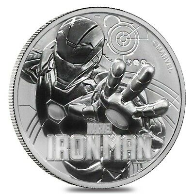 2018 1 oz Tuvalu Iron Man Marvel Series Silver Coin .9999 Fine Silver BU In Cap