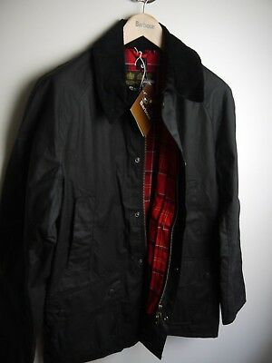 Barbour Men's Ashby Waxed Jacket, Large, Black, New With Tags