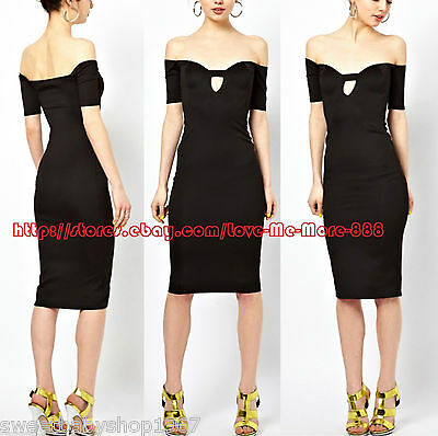 Womens Off Shoulder Cut Out Hole Club Party Celebrity Casual Bodycon Dress SMALL