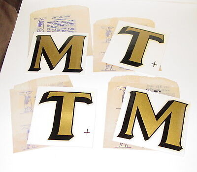"Vintage 3 1/4"" Duro Waterslide Decals Letters Typography Gold Foil Black Trim ™"