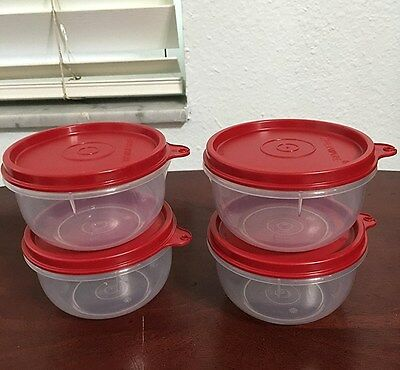 Tupperware Ideal Little Bowls 8 oz Set of 4  New with Red Seals
