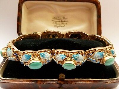 Antique Butterfly Bracelet 1930's Art Deco Chinese Export Gold Vermeil Enamel