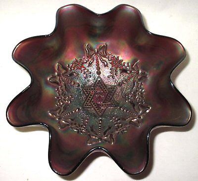 Antique Northwood Carnival Glass Star of David and Bows Ruffled Bowl